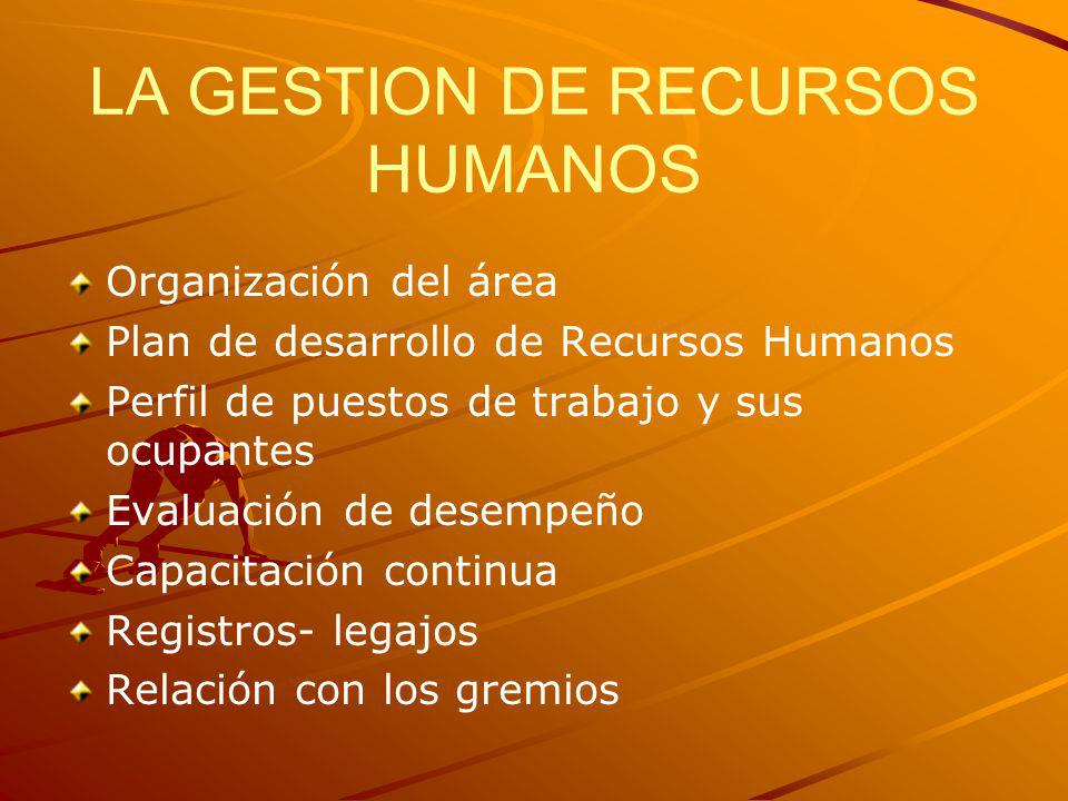 LA GESTION DE RECURSOS HUMANOS Organización del área Plan de desarrollo de Recursos Humanos Perfil de puestos de trabajo y sus ocupantes Evaluación de