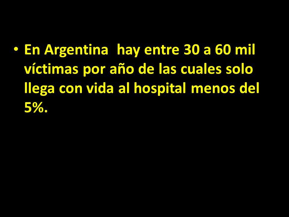 En Argentina hay entre 30 a 60 mil víctimas por año de las cuales solo llega con vida al hospital menos del 5%.