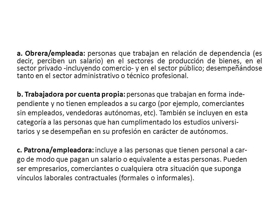 a. Obrera/empleada: personas que trabajan en relación de dependencia (es decir, perciben un salario) en el sectores de producción de bienes, en el sec