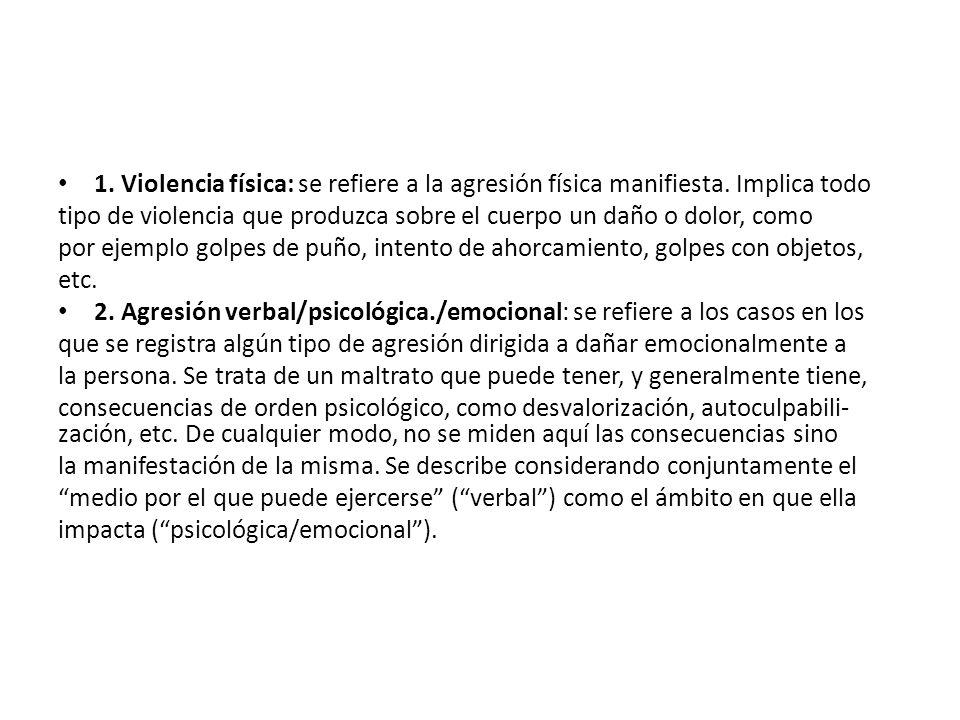 1. Violencia física: se refiere a la agresión física manifiesta. Implica todo tipo de violencia que produzca sobre el cuerpo un daño o dolor, como por