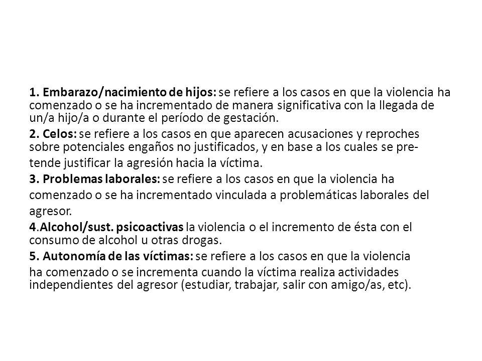 1. Embarazo/nacimiento de hijos: se refiere a los casos en que la violencia ha comenzado o se ha incrementado de manera significativa con la llegada d