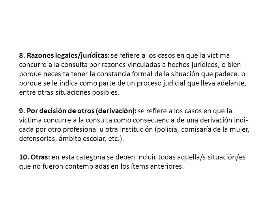 8. Razones legales/jurídicas: se refiere a los casos en que la víctima concurre a la consulta por razones vinculadas a hechos jurídicos, o bien porque