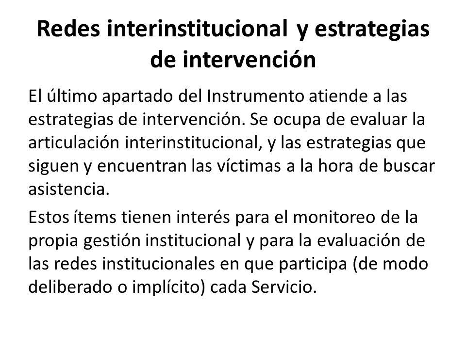 Redes interinstitucional y estrategias de intervención El último apartado del Instrumento atiende a las estrategias de intervención. Se ocupa de evalu