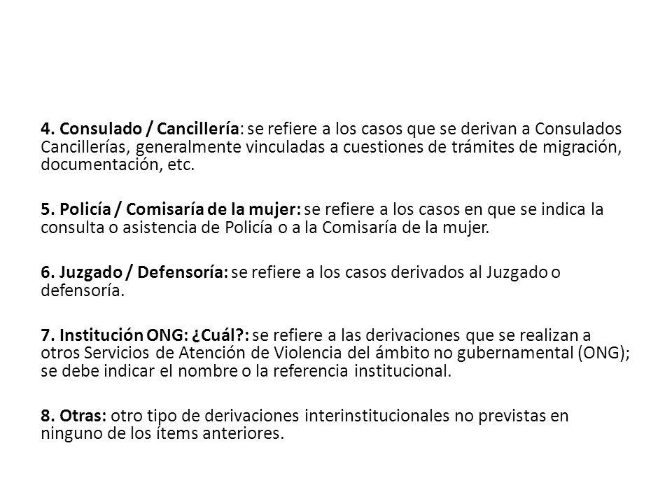 4. Consulado / Cancillería: se refiere a los casos que se derivan a Consulados Cancillerías, generalmente vinculadas a cuestiones de trámites de migra