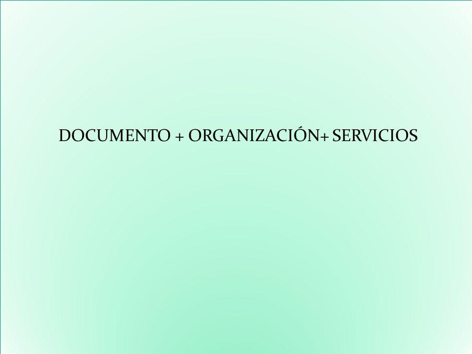 DOCUMENTO + ORGANIZACIÓN+ SERVICIOS DOCUMENTO + ORGANIZACIÓN+ SERVICIOS