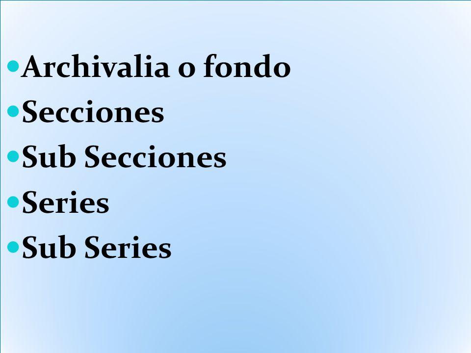 Archivalia o fondo Secciones Sub Secciones Series Sub Series Archivalia o fondo Secciones Sub Secciones Series Sub Series
