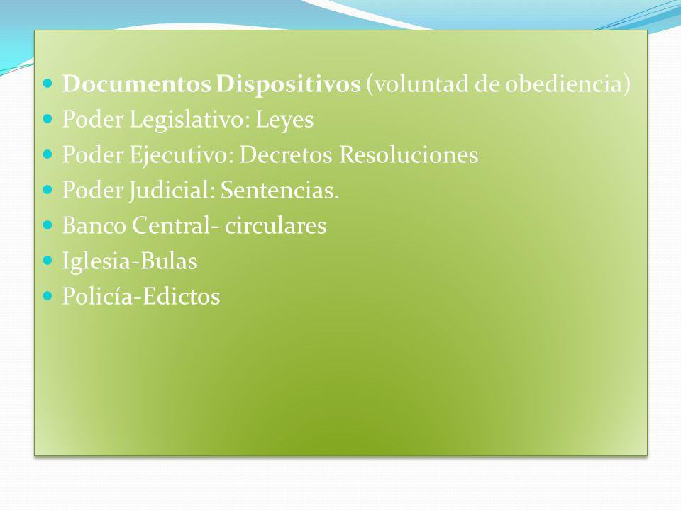 Documentos Dispositivos (voluntad de obediencia) Poder Legislativo: Leyes Poder Ejecutivo: Decretos Resoluciones Poder Judicial: Sentencias.