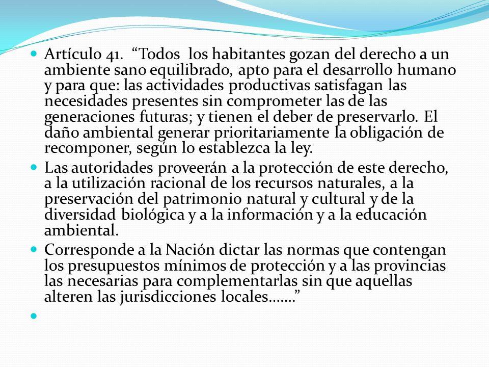 Artículo 41. Todos los habitantes gozan del derecho a un ambiente sano equilibrado, apto para el desarrollo humano y para que: las actividades product