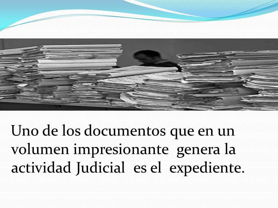 Uno de los documentos que en un volumen impresionante genera la actividad Judicial es el expediente.