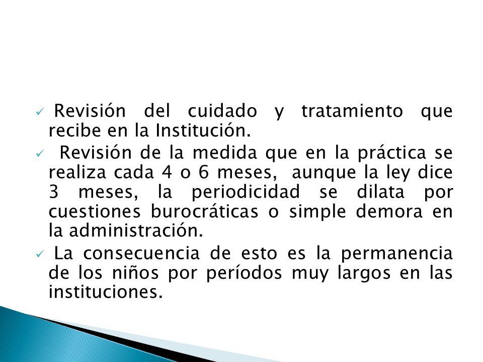 Revisión del cuidado y tratamiento que recibe en la Institución.