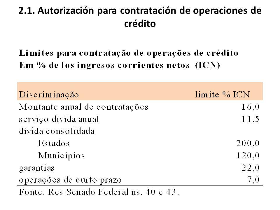 2.1. Autorización para contratación de operaciones de crédito