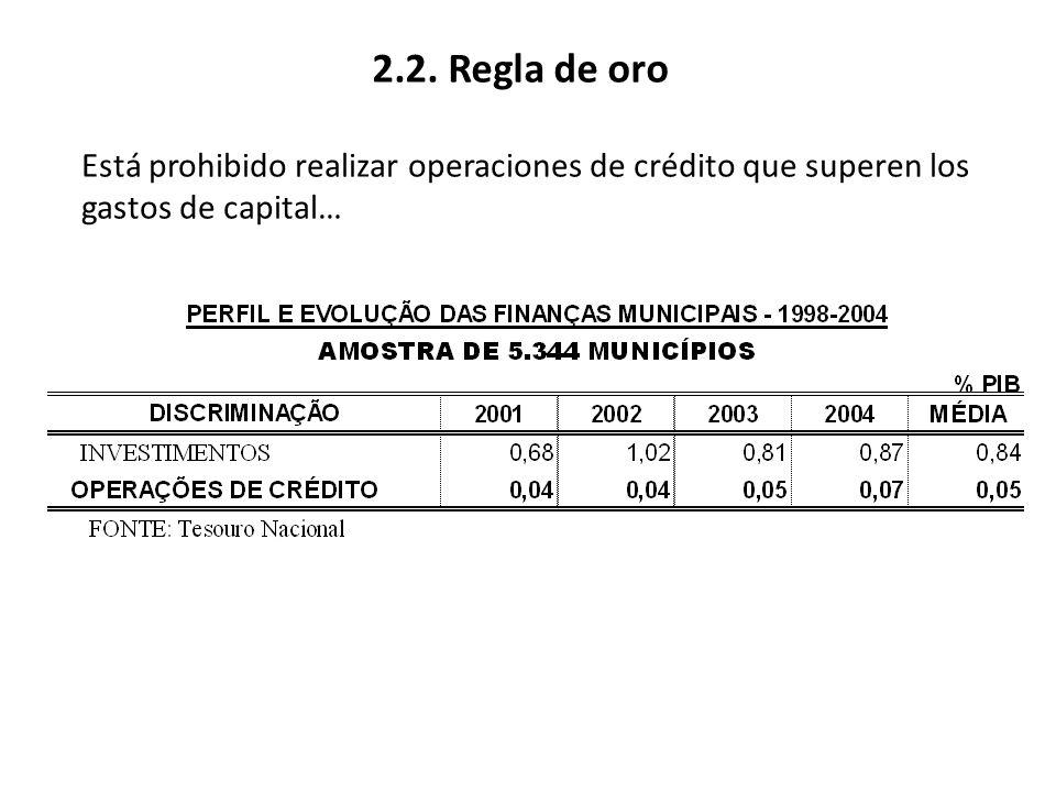 2.2. Regla de oro Está prohibido realizar operaciones de crédito que superen los gastos de capital…