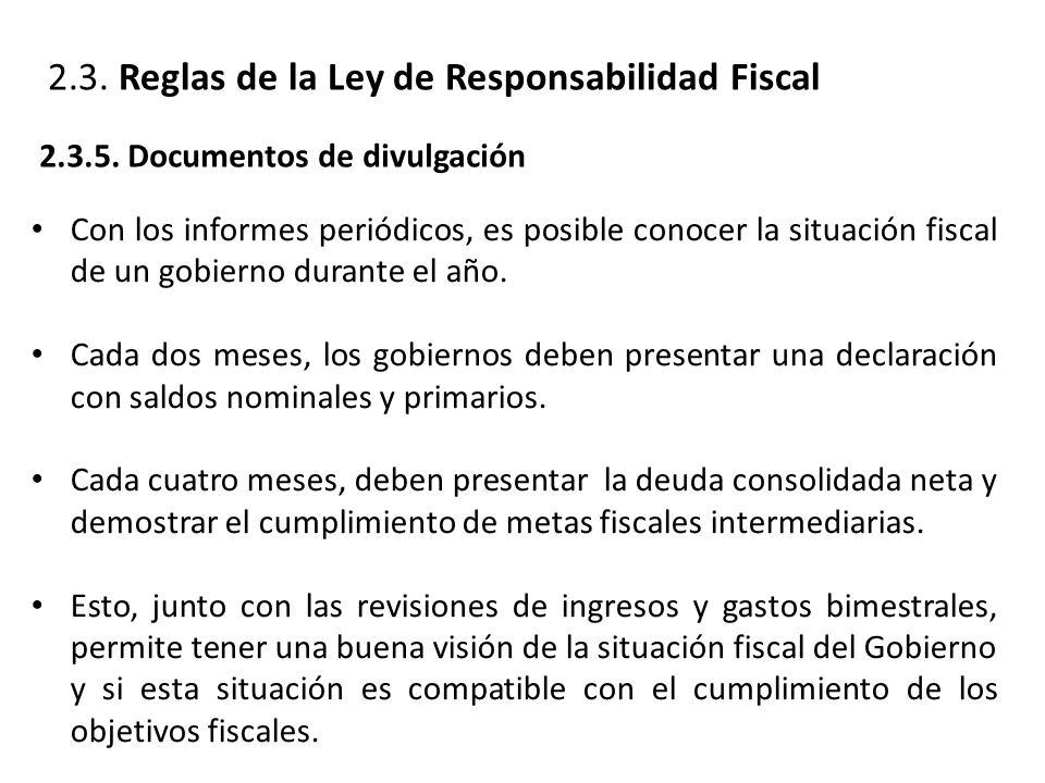 2.3. Reglas de la Ley de Responsabilidad Fiscal 2.3.5.