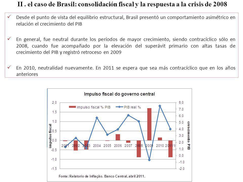 II. el caso de Brasil: consolidación fiscal y la respuesta a la crisis de 2008 Desde el punto de vista del equilibrio estructural, Brasil presentó un