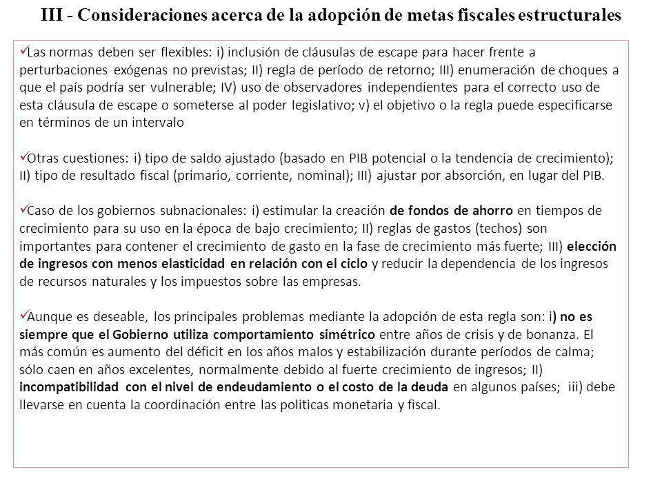 III - Consideraciones acerca de la adopción de metas fiscales estructurales Las normas deben ser flexibles: i) inclusión de cláusulas de escape para h
