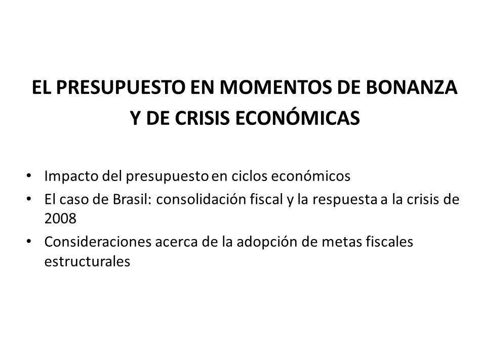 EL PRESUPUESTO EN MOMENTOS DE BONANZA Y DE CRISIS ECONÓMICAS Impacto del presupuesto en ciclos económicos El caso de Brasil: consolidación fiscal y la