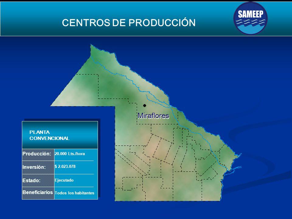 Miraflores Miraflores CENTROS DE PRODUCCIÓN SEGUNDO ACUEDUCTO PARA EL INTERIOR Producción: Inversión: Estado: Beneficiarios PLANTA CONVENCIONAL 20.000