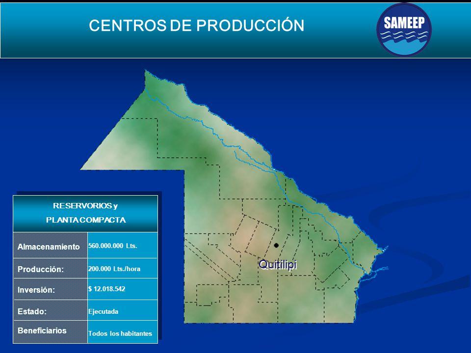 Quitilipi Quitilipi CENTROS DE PRODUCCIÓN SEGUNDO ACUEDUCTO PARA EL INTERIOR Producción: Inversión: Estado: Beneficiarios 200.000 Lts./hora $ 12.018.542 Ejecutada Todos los habitantes Almacenamiento 560.000.000 Lts.