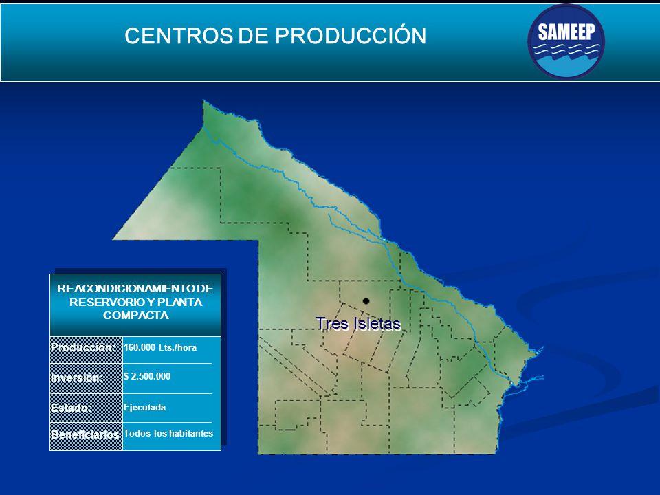 Tres Isletas Tres Isletas CENTROS DE PRODUCCIÓN SEGUNDO ACUEDUCTO PARA EL INTERIOR Producción: Inversión: Estado: Beneficiarios REACONDICIONAMIENTO DE