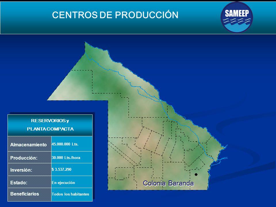 Colonia Baranda Colonia Baranda CENTROS DE PRODUCCIÓN SEGUNDO ACUEDUCTO PARA EL INTERIOR Producción: Inversión: Estado: Beneficiarios 30.000 Lts./hora $ 3.537.290 En ejecución Todos los habitantes Almacenamiento 45.000.000 Lts.