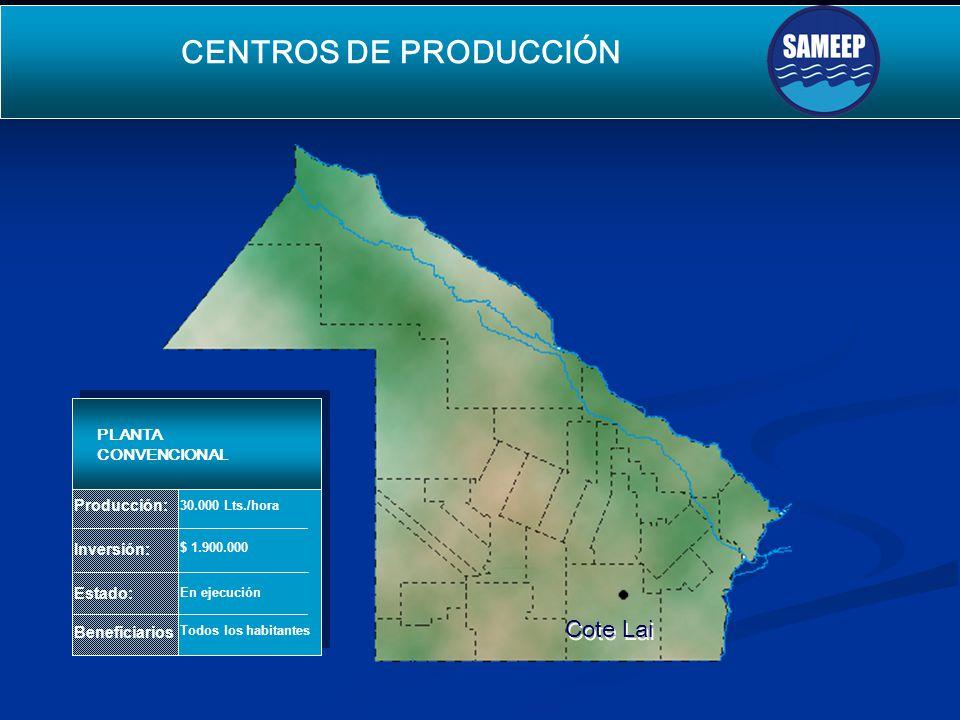 Cote Lai Cote Lai SEGUNDO ACUEDUCTO PARA EL INTERIOR Producción: Inversión: Estado: Beneficiarios PLANTA CONVENCIONAL 30.000 Lts./hora $ 1.900.000 En