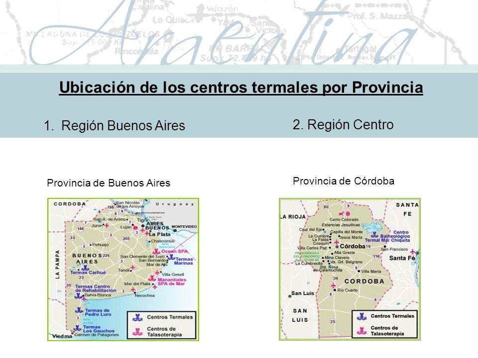 Metodología de Implementación Ubicación de los centros termales por Provincia 1.Región Buenos Aires Provincia de Buenos Aires 2.