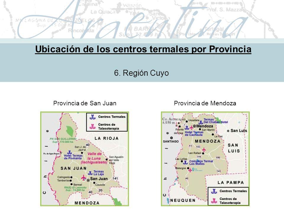 Metodología de Implementación Ubicación de los centros termales por Provincia 6.