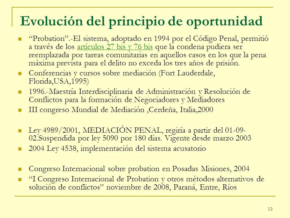 13 Evolución del principio de oportunidad Probation.-El sistema, adoptado en 1994 por el Código Penal, permitió a través de los artículos 27 bis y 76