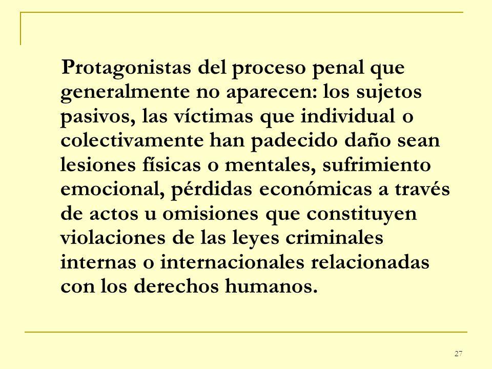 27 Protagonistas del proceso penal que generalmente no aparecen: los sujetos pasivos, las víctimas que individual o colectivamente han padecido daño s