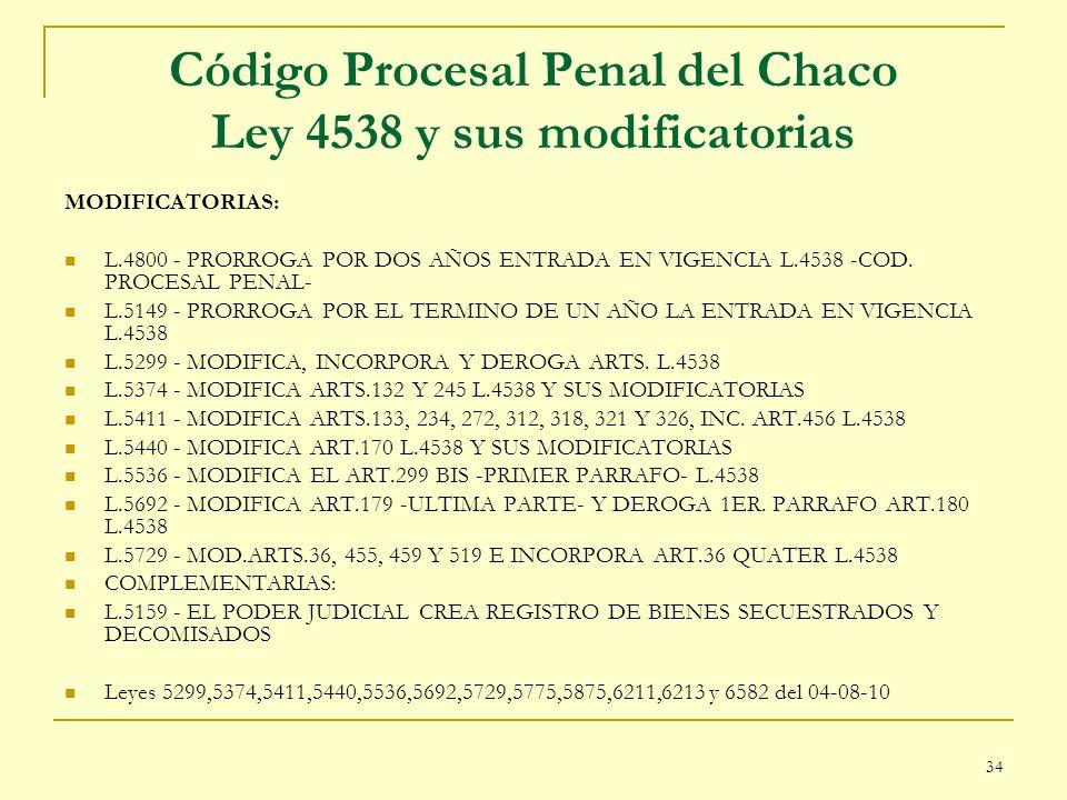 34 Código Procesal Penal del Chaco Ley 4538 y sus modificatorias MODIFICATORIAS: L.4800 - PRORROGA POR DOS AÑOS ENTRADA EN VIGENCIA L.4538 -COD. PROCE