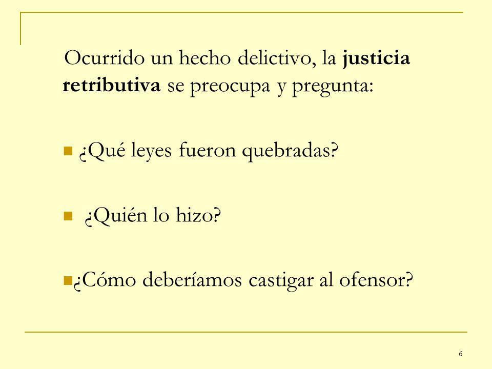 6 Ocurrido un hecho delictivo, la justicia retributiva se preocupa y pregunta: ¿Qué leyes fueron quebradas? ¿Quién lo hizo? ¿Cómo deberíamos castigar