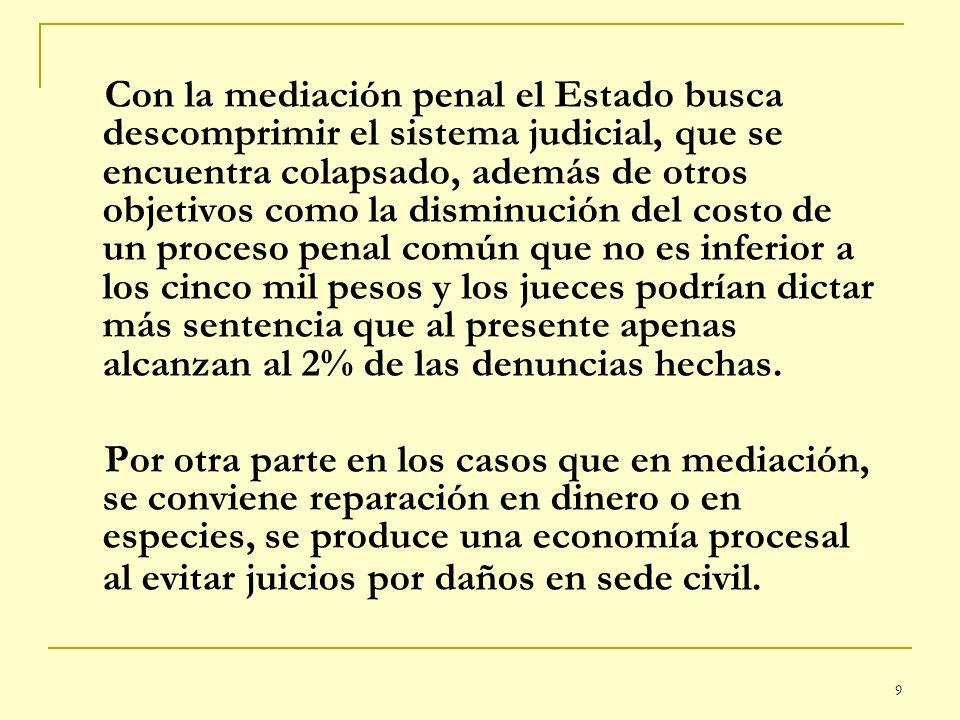 9 Con la mediación penal el Estado busca descomprimir el sistema judicial, que se encuentra colapsado, además de otros objetivos como la disminución d
