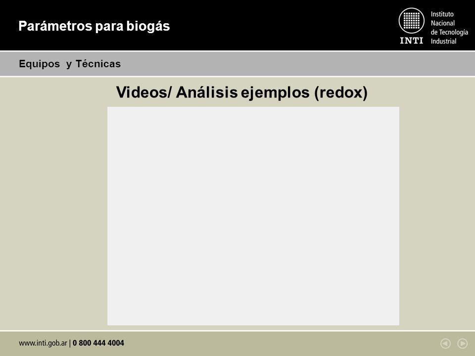 Parámetros para biogás Equipos y Técnicas Videos/ Análisis ejemplos (redox)