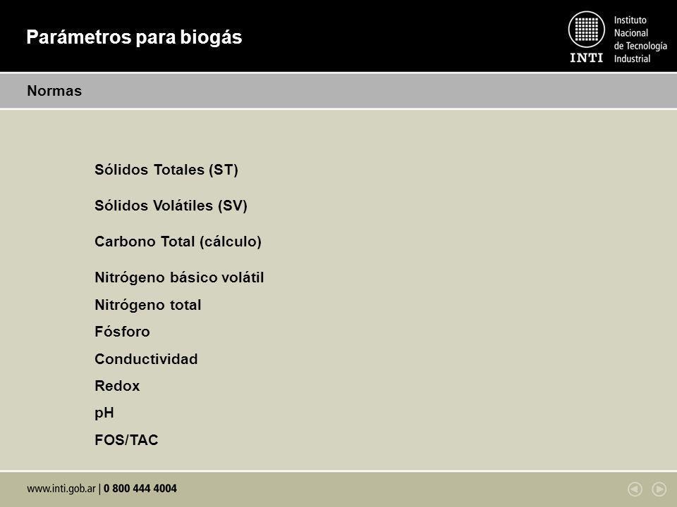 Parámetros para biogás Normas Sólidos Totales (ST) Sólidos Volátiles (SV) Carbono Total (cálculo) Nitrógeno básico volátil Nitrógeno total Fósforo Con