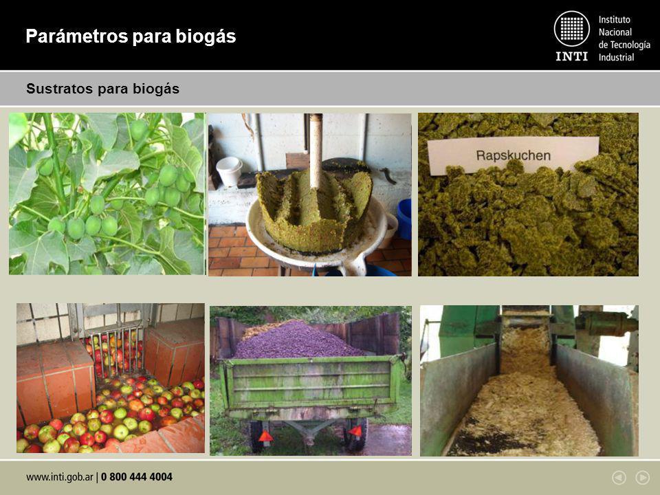 Parámetros para biogás Sustratos para biogás