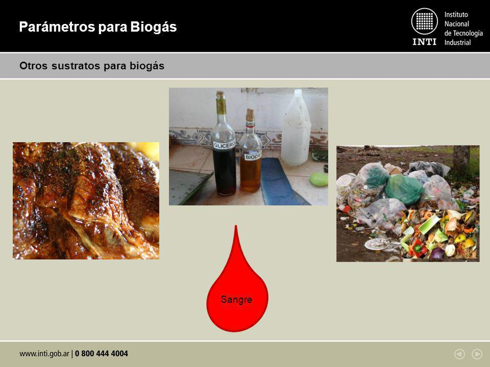 Parámetros para Biogás Otros sustratos para biogás Sangre