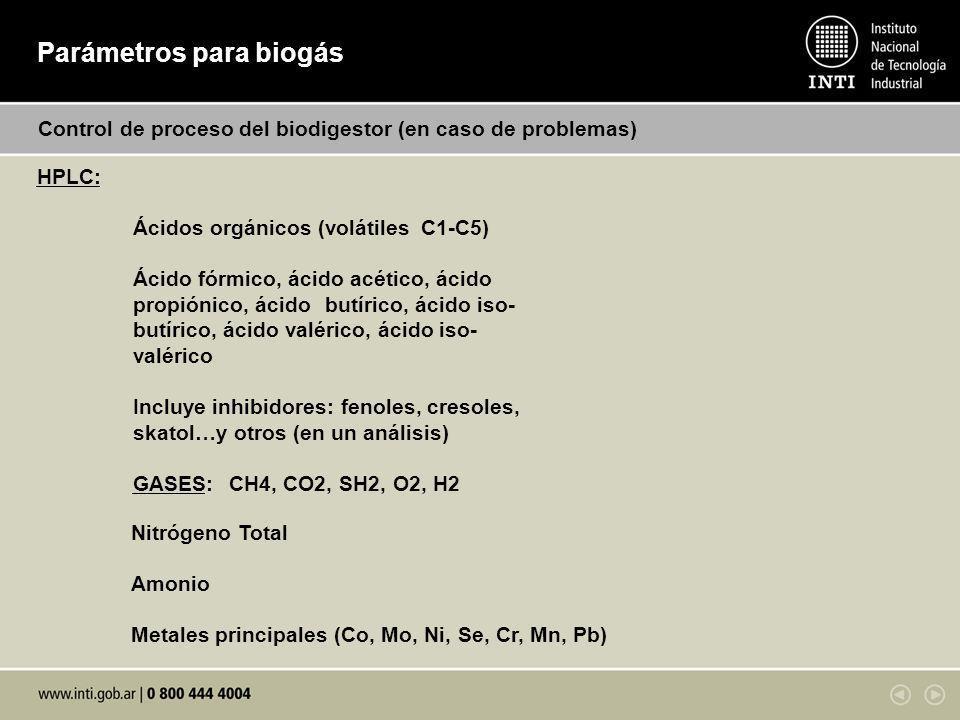 Parámetros para biogás Control de proceso del biodigestor (en caso de problemas) HPLC: Ácidos orgánicos (volátiles C1-C5) Ácido fórmico, ácido acético