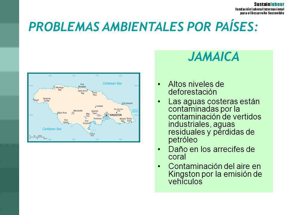 PROBLEMAS AMBIENTALES POR PAÍSES: JAMAICA Altos niveles de deforestación Las aguas costeras están contaminadas por la contaminación de vertidos indust