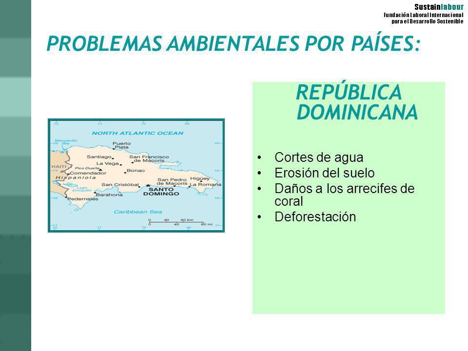 PROBLEMAS AMBIENTALES POR PAÍSES: REPÚBLICA DOMINICANA Cortes de agua Erosión del suelo Daños a los arrecifes de coral Deforestación