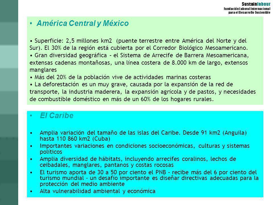 América Central y México Superficie: 2,5 millones km2 (puente terrestre entre América del Norte y del Sur). El 30% de la región está cubierta por el C