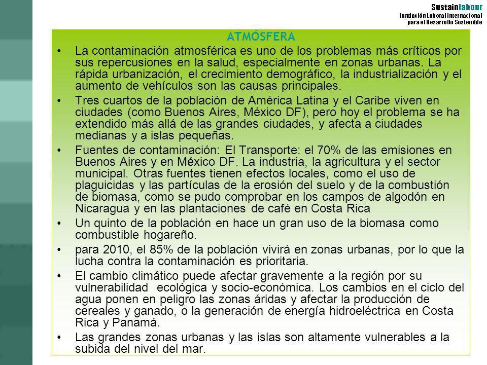PROBLEMAS AMBIENTALES POR PAÍSES: MÉXICO Mal tratamiento de residuos migración a las ciudades Agua: escasa y contaminada en el N, inaccesible, poca calidad en Centro y SE Contaminación de ríos por residuo industrial Deforestación; erosión severa; desertificación; deterioro de tierras agrícolas Seria contaminación de aire y agua en el DF