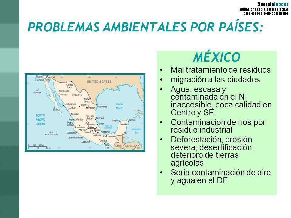 PROBLEMAS AMBIENTALES POR PAÍSES: MÉXICO Mal tratamiento de residuos migración a las ciudades Agua: escasa y contaminada en el N, inaccesible, poca ca