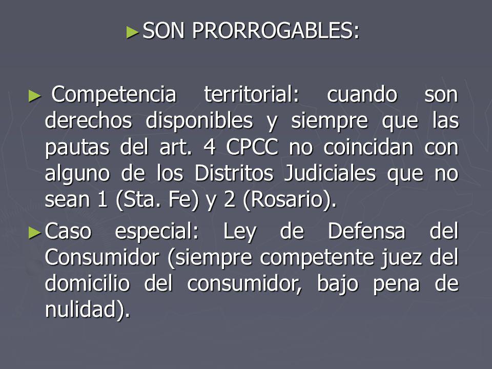 SON PRORROGABLES: SON PRORROGABLES: Competencia territorial: cuando son derechos disponibles y siempre que las pautas del art. 4 CPCC no coincidan con