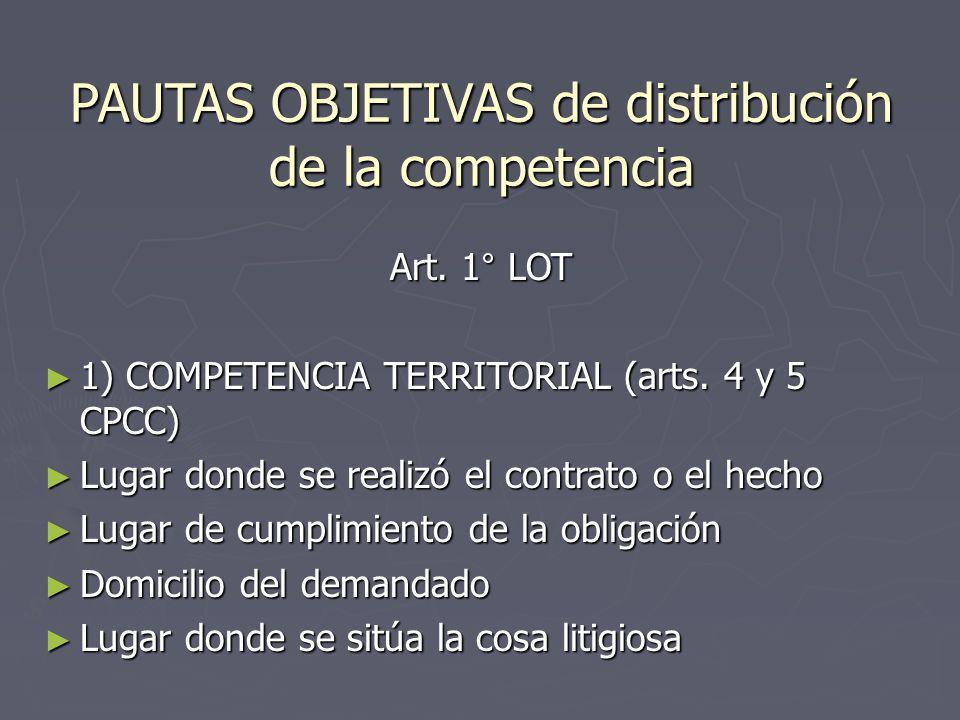 PAUTAS OBJETIVAS de distribución de la competencia Art. 1° LOT 1) COMPETENCIA TERRITORIAL (arts. 4 y 5 CPCC) 1) COMPETENCIA TERRITORIAL (arts. 4 y 5 C