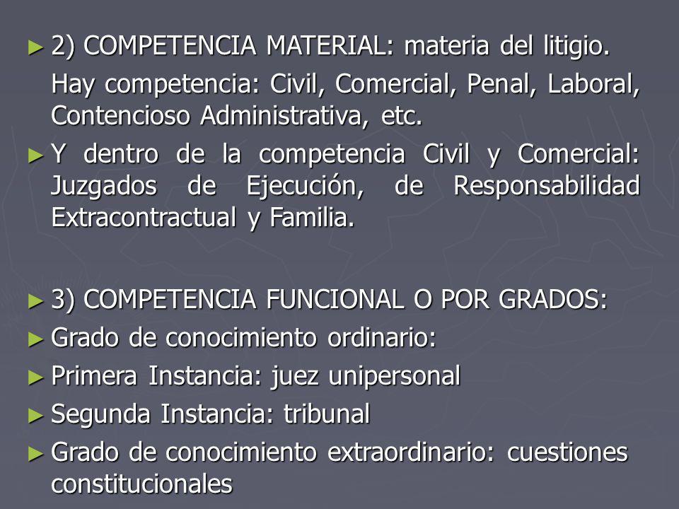 2) COMPETENCIA MATERIAL: materia del litigio. 2) COMPETENCIA MATERIAL: materia del litigio. Hay competencia: Civil, Comercial, Penal, Laboral, Contenc