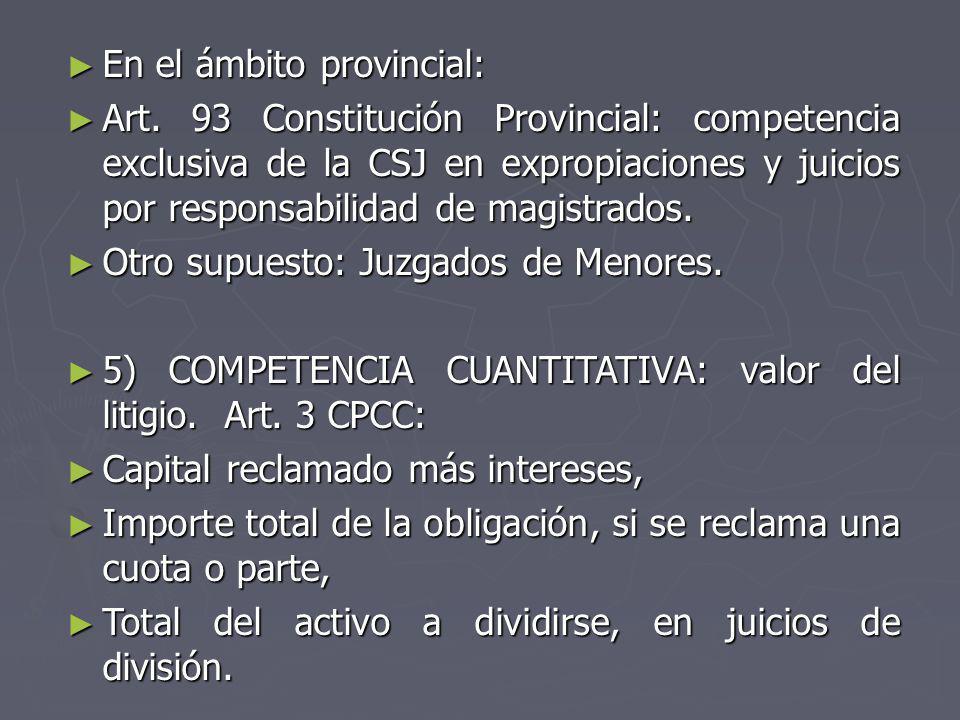 En el ámbito provincial: En el ámbito provincial: Art. 93 Constitución Provincial: competencia exclusiva de la CSJ en expropiaciones y juicios por res