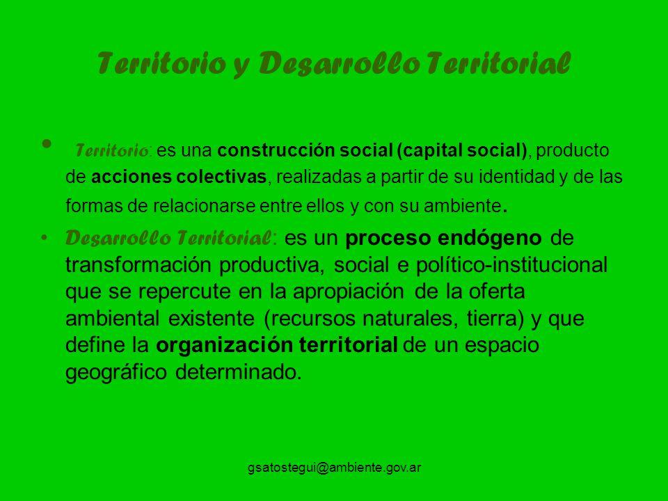 gsatostegui@ambiente.gov.ar Territorio y Desarrollo Territorial Territorio : es una construcción social (capital social), producto de acciones colectivas, realizadas a partir de su identidad y de las formas de relacionarse entre ellos y con su ambiente.