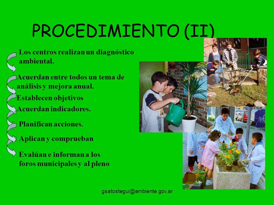 gsatostegui@ambiente.gov.ar PROCEDIMIENTO (II) Los centros realizan un diagnóstico ambiental. Acuerdan entre todos un tema de análisis y mejora anual.