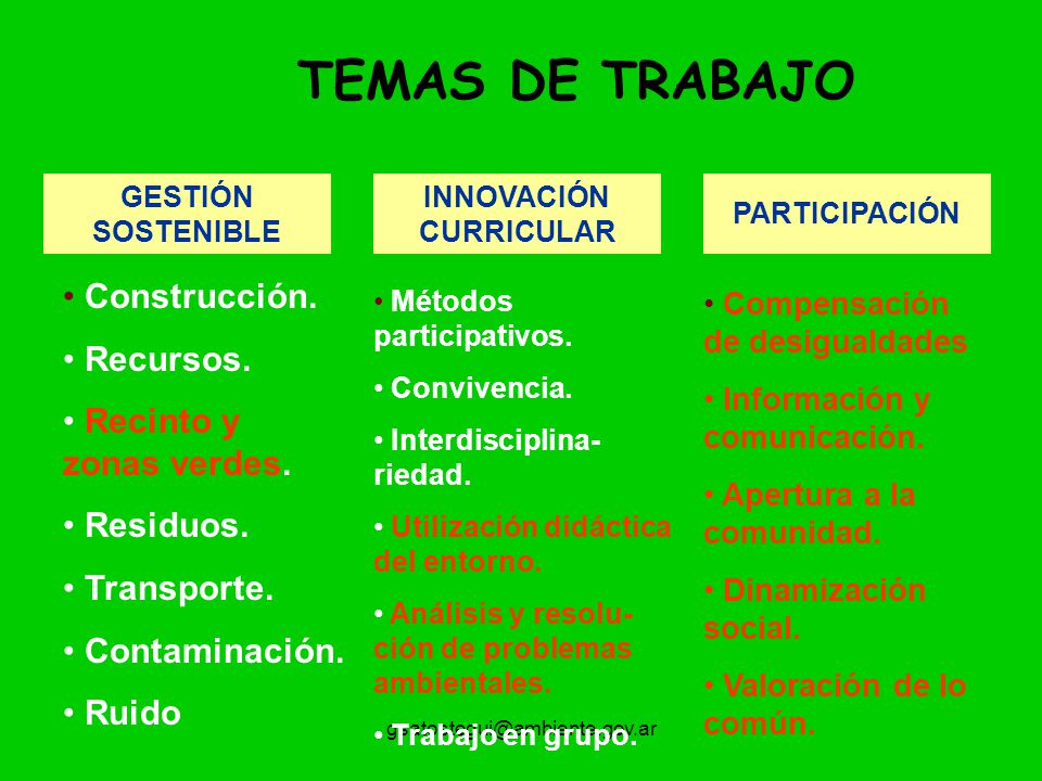 gsatostegui@ambiente.gov.ar TEMAS DE TRABAJO GESTIÓN SOSTENIBLE Construcción. Recursos. Recinto y zonas verdes. Residuos. Transporte. Contaminación. R