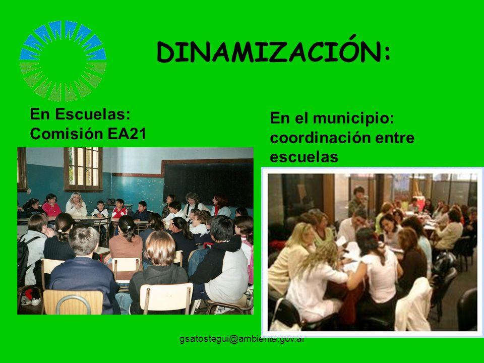 DINAMIZACIÓN: En Escuelas: Comisión EA21 En el municipio: coordinación entre escuelas